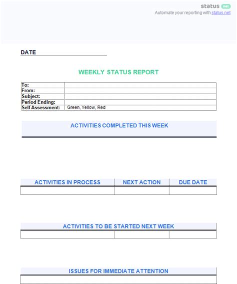 project status report template youtube