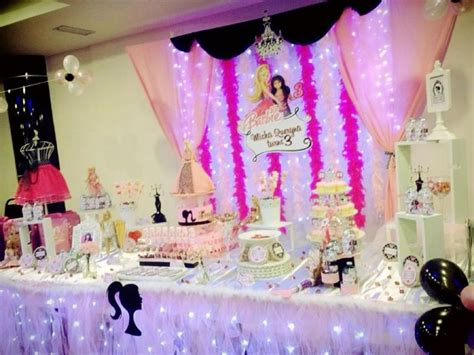 Backdrop & Cake Table / Candy Buffet For A Barbie Themed
