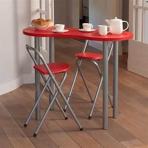 ensemble table coin repas 2 tabourets rouge maison futee With table haute pour petite cuisine