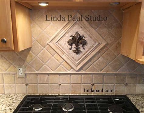 Small Kitchen Backsplash medallions   mosaic stone and