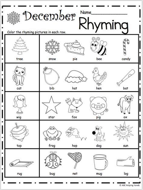 free kindergarten rhyming worksheets for december lesson