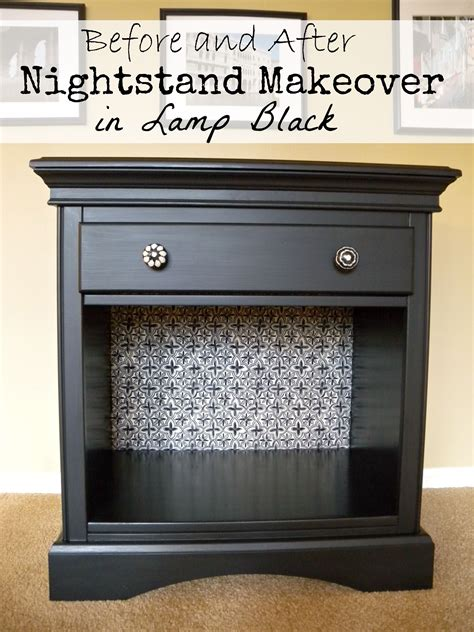 nightstand makeover  lamp black