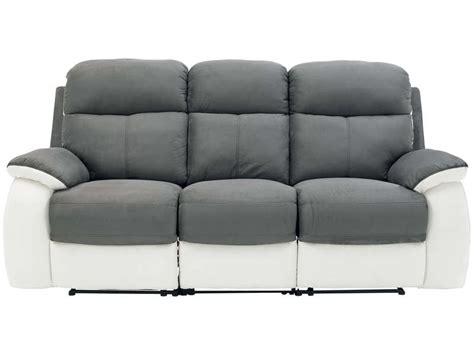 canapé en soldes conforama canapé fixe 3 places 2 relaxation manuel en tissu