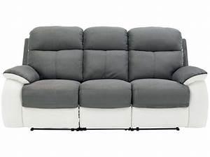 Canapé fixe 3 places dont 2 relaxation manuel en tissu WHITE coloris gris/blanc Vente de
