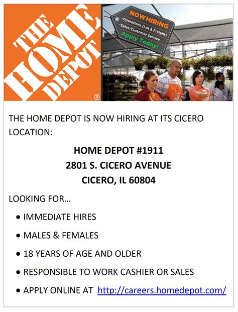 Home Depot Now Hiring by Home Depot Is Now Hiring At Its Cicero Il Location