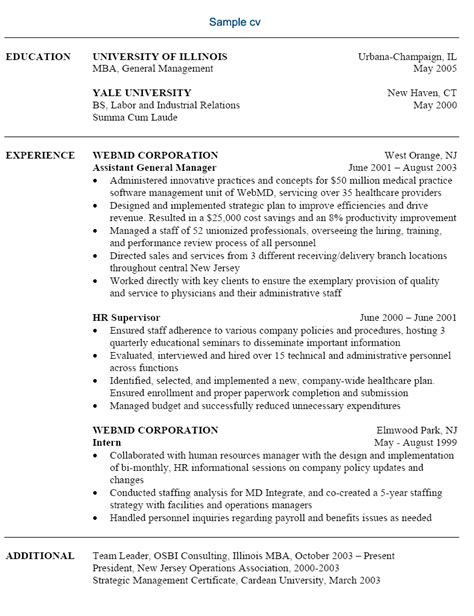 Exle Of A Resume For Any by Free Sle Resume Free Resume Exle Free Sle Resumes Provided By Professional