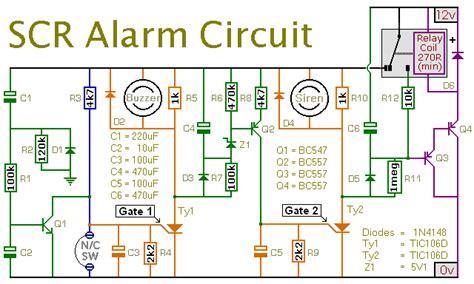 how to build an expandable scr based burglar alarm circuit diagram