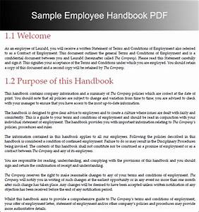 Template For Employee Handbook Free  U2013 Printable Schedule