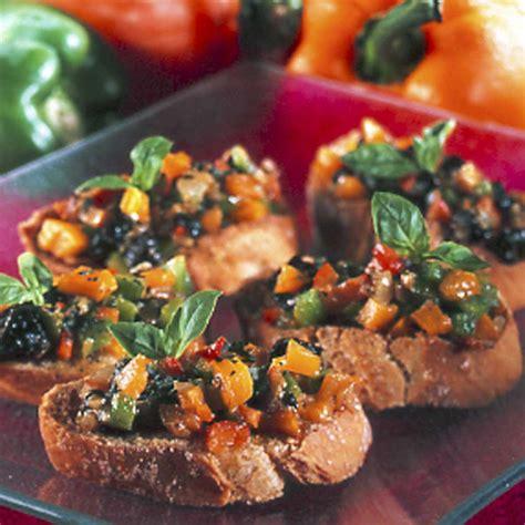 recette bruschetta aux poivrons  basilic cuisine