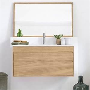 Meuble Salle De Bain Teck Suspendu : meuble suspendu en teck massif avec plan vasque c ramique ~ Edinachiropracticcenter.com Idées de Décoration
