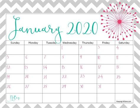cute   printable calendar keeping life sane