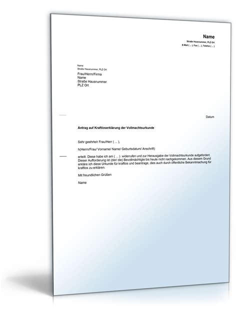 antrag auf kraftloserklaerung vollmacht musterbrief zum
