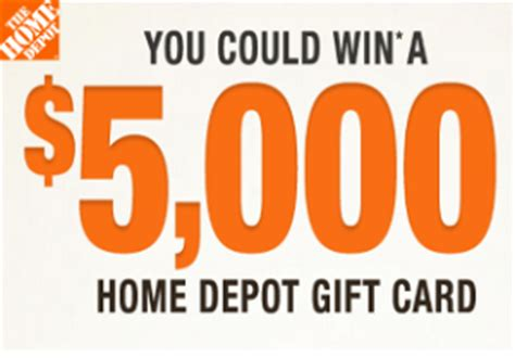 home depot sweepstakes home depot win 5 000 home depot gift card from mobile alert sw giveawayus com