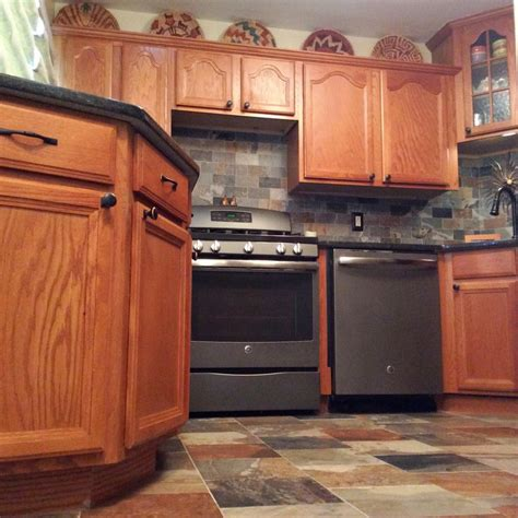 kitchens with slate appliances porcelain slate tile kitchen with ge slate appliances