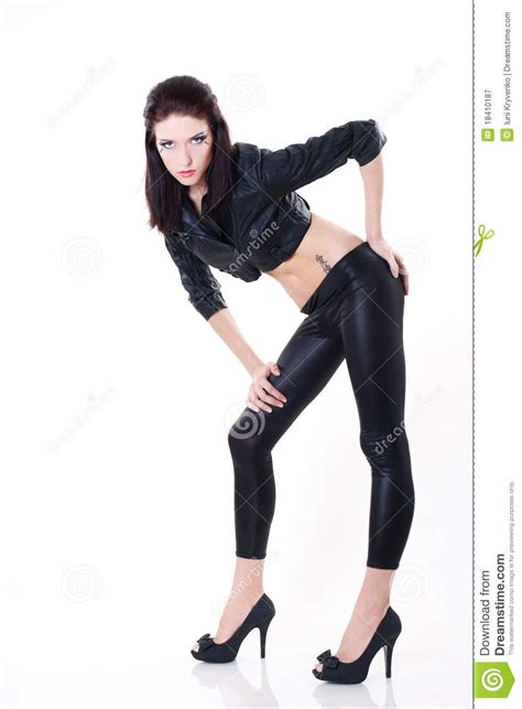 Sexy Brunette Woman Leather Jacket Royalty Free Stock
