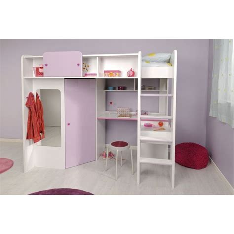 lit avec bureau pour fille demoiselle lit mezzanine 90 x 200 cm bureau étagères