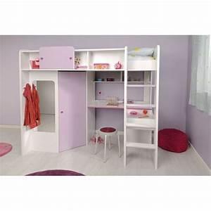 Demoiselle lit mezzanine 90 x 200 cm bureau etageres for Suspension chambre enfant avec prix d un futon
