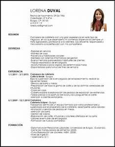 Modelo Curriculum Vitae Camarero/a de Cafetería LiveCareer