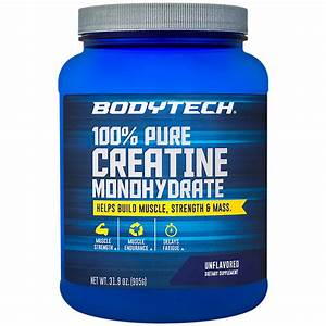 Bodytech 100  Pure Creatine Monohydrate Unflavored Powder 31 9oz 181 Servings