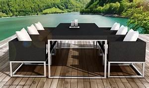 Table De Jardin Tressé : table et fauteuils en rsine tresse noire pour 6 personnes ~ Teatrodelosmanantiales.com Idées de Décoration