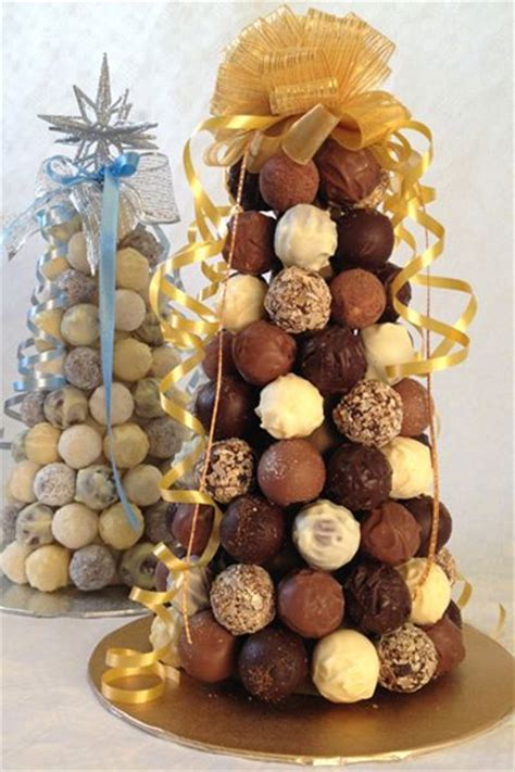 belgian chocolate and white chocolate truffle trees up
