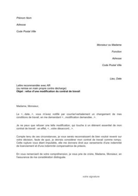 Modification Unilatérale Du Contrat by Calam 233 O Lettre De Refus Modification Contrat De Travail