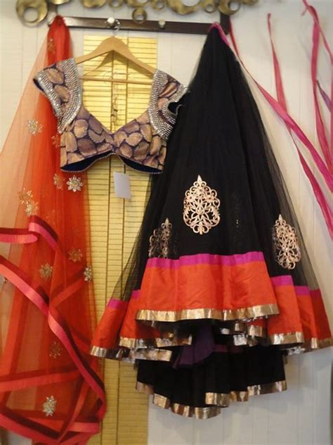 color combinations  black lehngas fashion  india