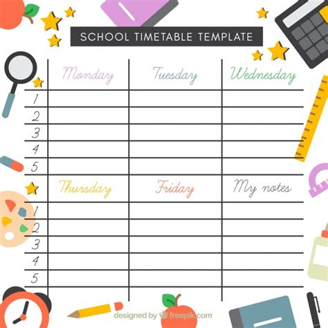 timetable numbers template school timetable template with elements in flat design