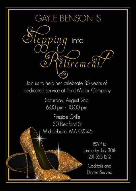 gold shoes retirement invitation  announceitfavors