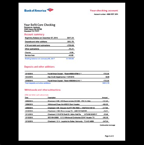 bank  america bank statement template