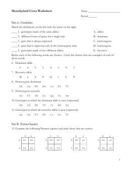 monohybrid cross worksheet answer key worksheets for all