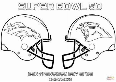 Coloring Broncos Bowl Panthers Super Denver Carolina