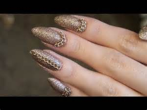 cat claw nails diy stiletto nail tutorial glitter chains stiletto