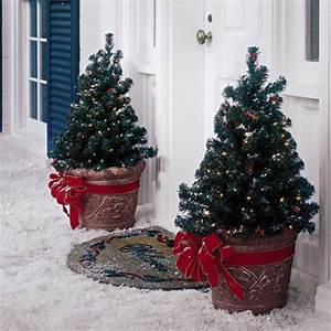 Mini, Lighted, Trees, In, Terra, Cotta, Pots, With, Added, Bright, Red, Ribbons, For, The, Porch, Entry