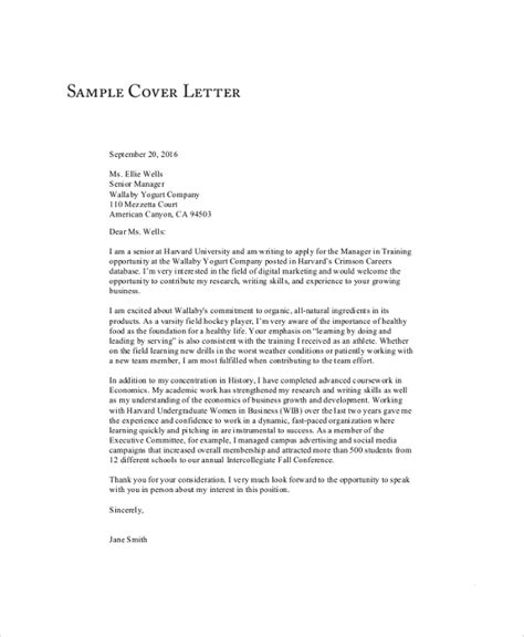 General Cover Letter For Resume by 9 Sle Cover Letter For Resumes Sle Templates