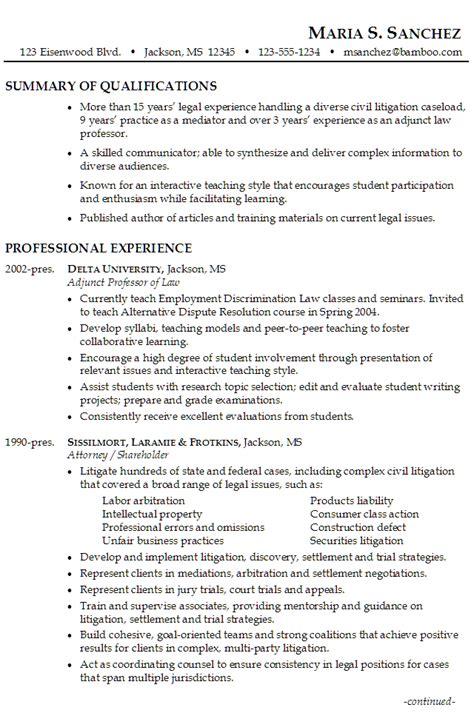 Lawyer Resume Litigation, Mediation, Teaching Susan
