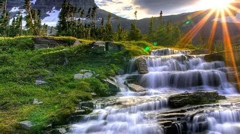 Cool Waterfall Picture by Logan Pass Glacier National Park Montana Us Hd