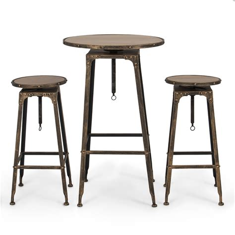 bar height kitchen table pub table set 3 piece bar adjustable height stools bistro