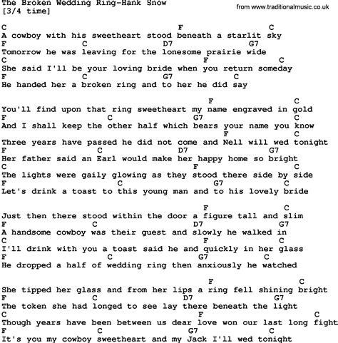 country the broken wedding ring hank snow lyrics and