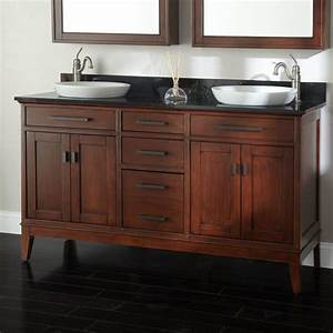 60quot tobacco madison double vanity for semi recessed sinks for 50 inch double sink bathroom vanity