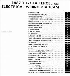 1987 Toyota Tercel Sedan Wiring Diagram Manual Original