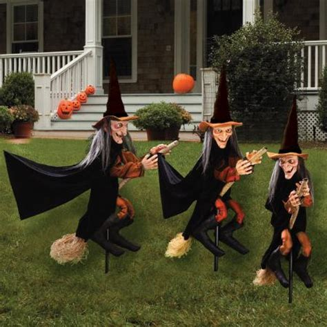 Halloween Witch Yard Stakes by S 3 Witches Broom Stakes Outdoor Halloween Decoration Ebay