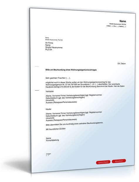 notarieller kaufvertrag haus musterbrief an notar wegen wohnungskauf vorlage zum