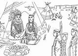Coloring Indian Village sketch template