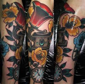 Arm Clock New School Gramophone Tattoo by Emily Rose Murray