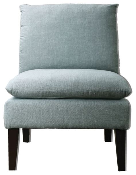 plush gray linen armless chair industrial armchairs