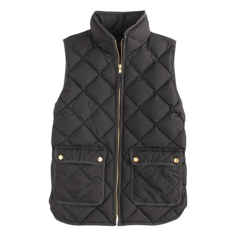 black quilted vest womens j crew excursion quilted vest in black lyst