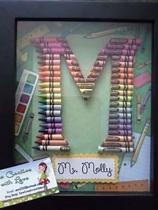 teacher gift crayon letter framed art letter m crayon With crayon letter art for teacher