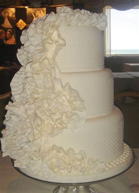 tier  white wedding cake  rufflesjpg