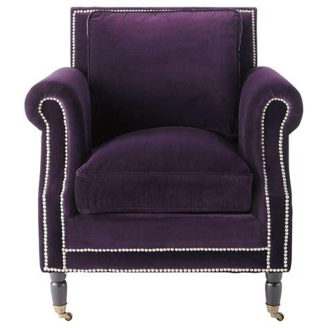 fauteuil en velours aubergine baudelaire maisons du monde